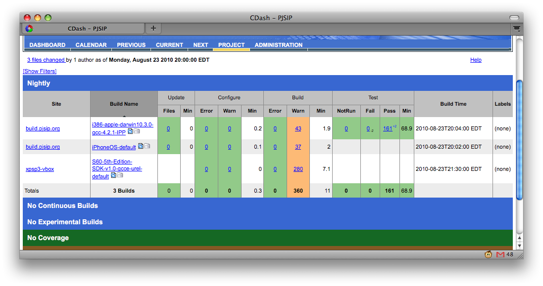 Screenshot of PJSIP Dashboard